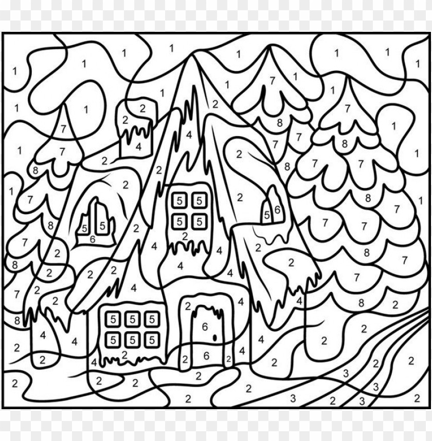 difficult color by number coloring pages PNG image with ...