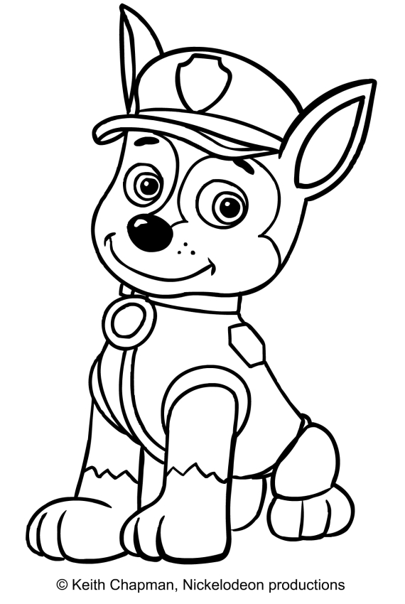 Chase (Paw Patrol) Coloring Page - Coloring Home
