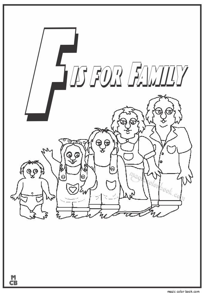f is for family coloring pages 01