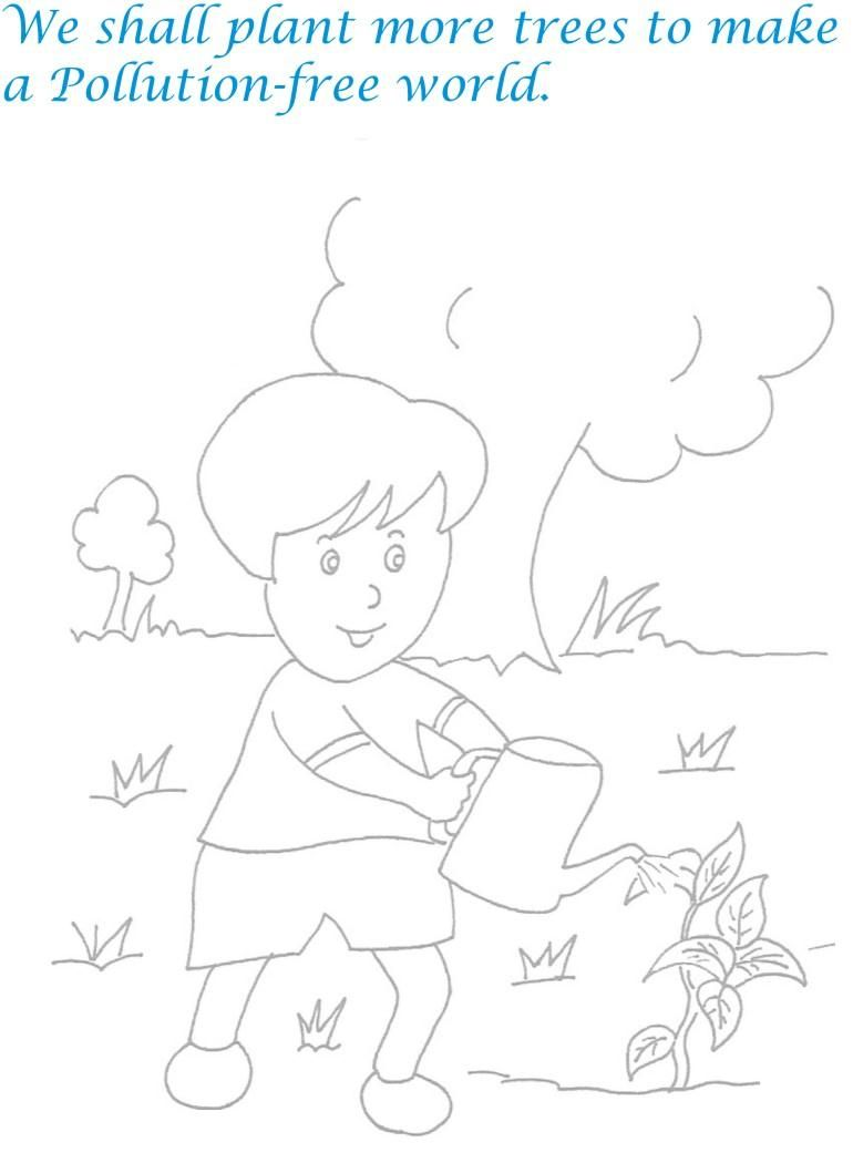 Children Plant More Trees Pollution Free World Coloring Pages ...