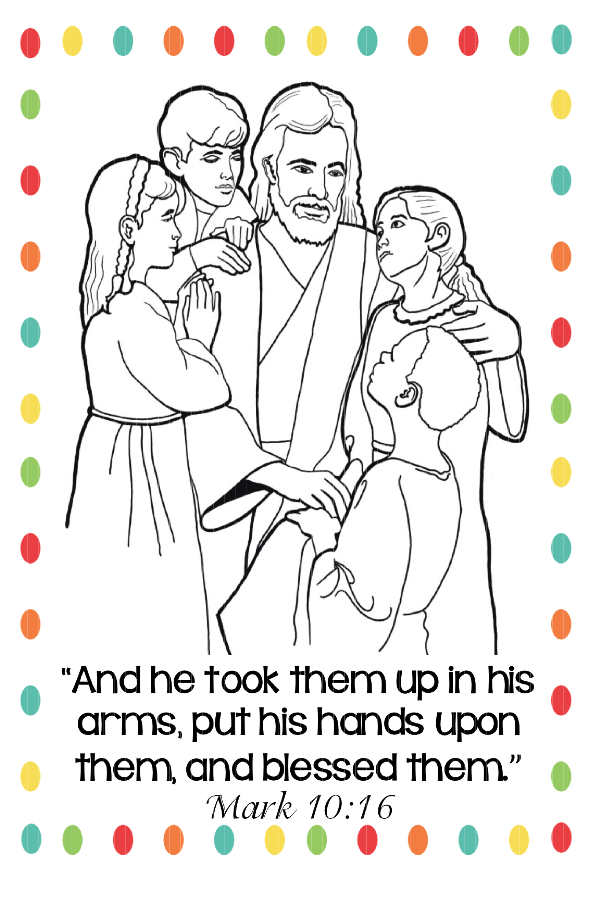 Jesus Loves Children - Coloring Pages for Kids and for Adults