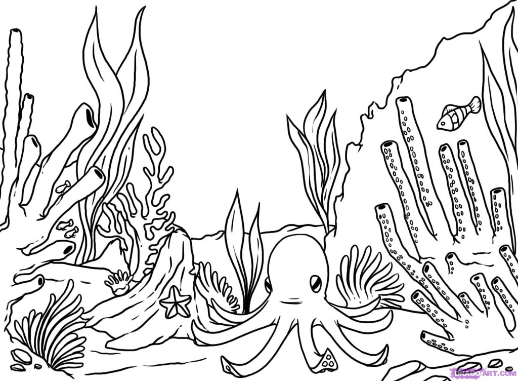 Coral Reef Coloring Page - Coloring Home