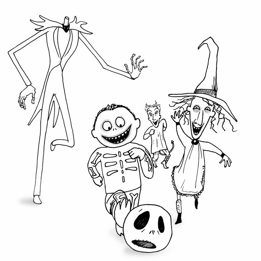 the nightmare before christmas coloring pages coloring home