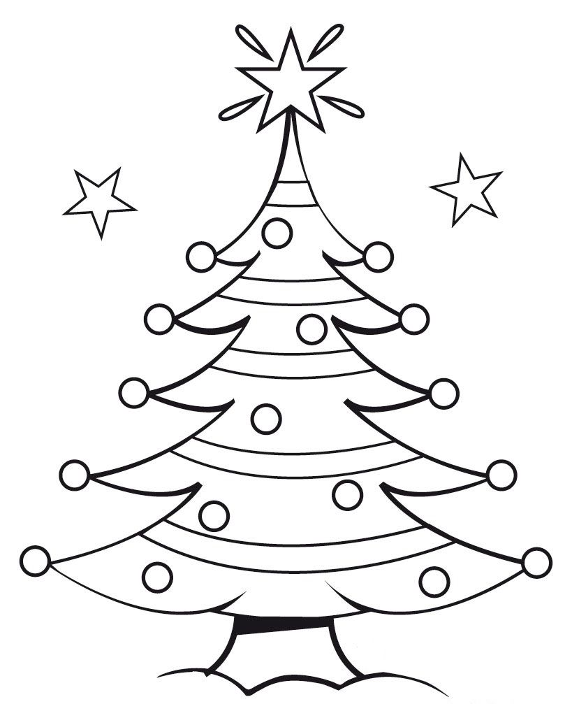 christmas tree outline coloring pages - photo#14