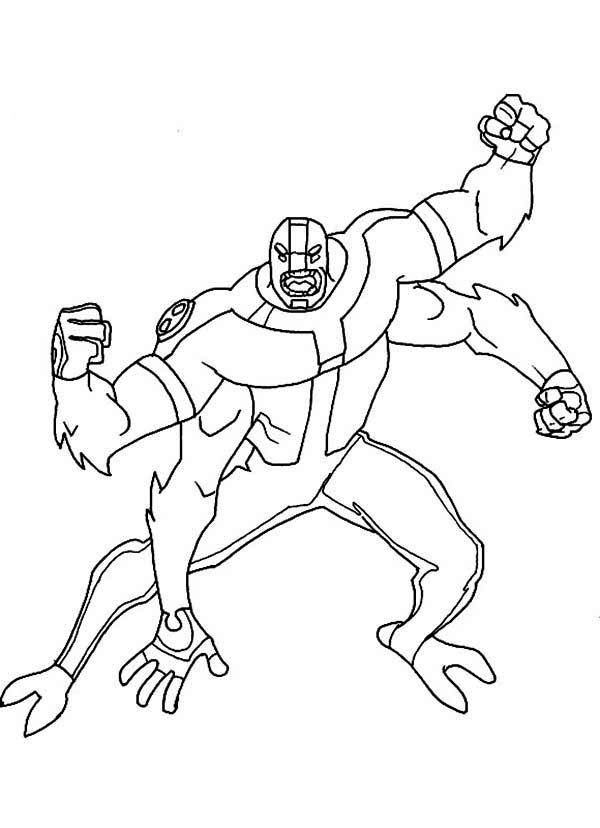 Four Arms Attacking Position Coloring Page - Download & Print Online Coloring  Pages for Free | Color Nimbus