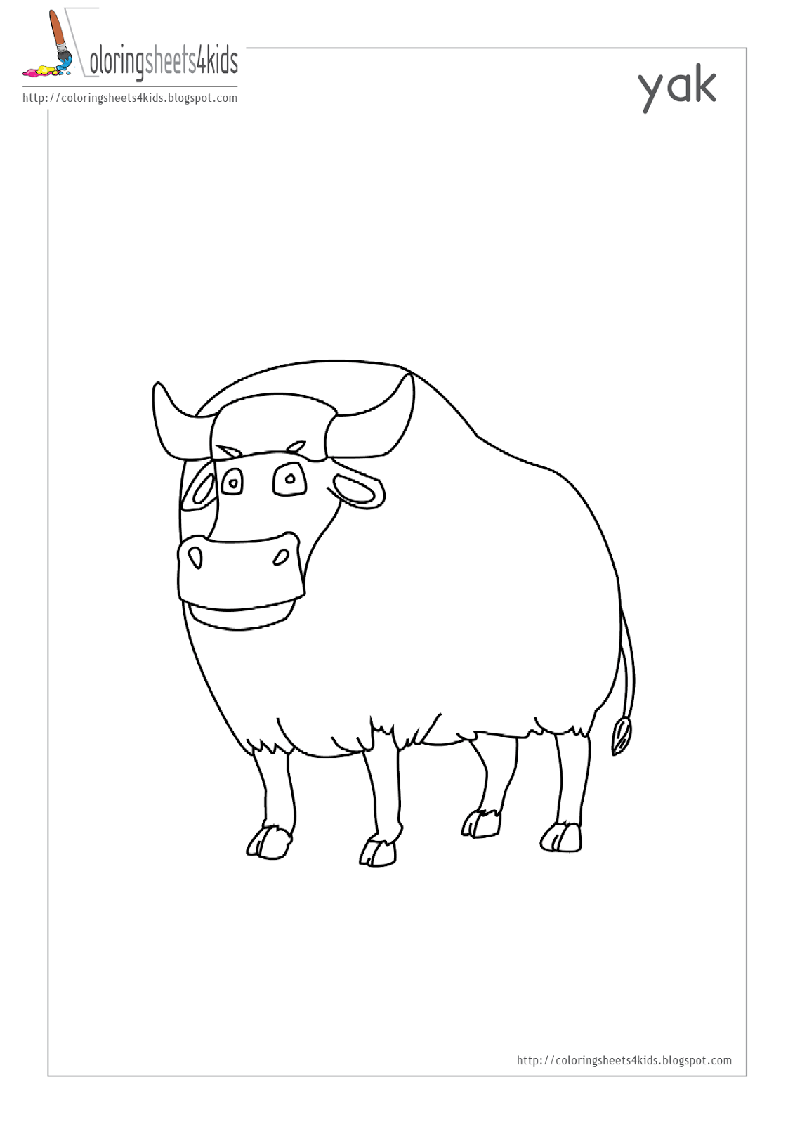 Coloring pages for kids yak coloring page
