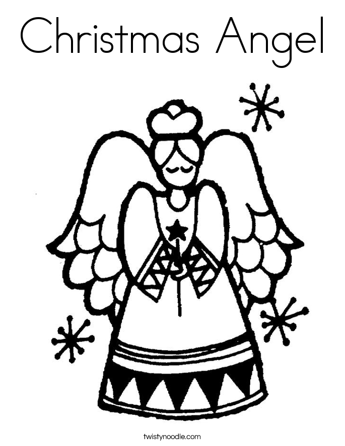 Colouring Pages Of Christmas Angels : Christmas Angels Coloring Page Coloring Home