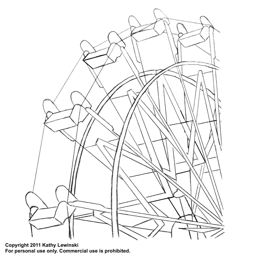 Ferris wheel coloring pages for Wheel coloring page