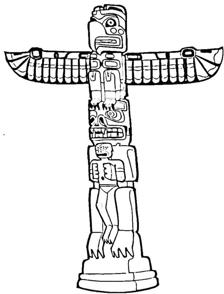 Coloring pages of totem poles coloring home for Totem pole design template