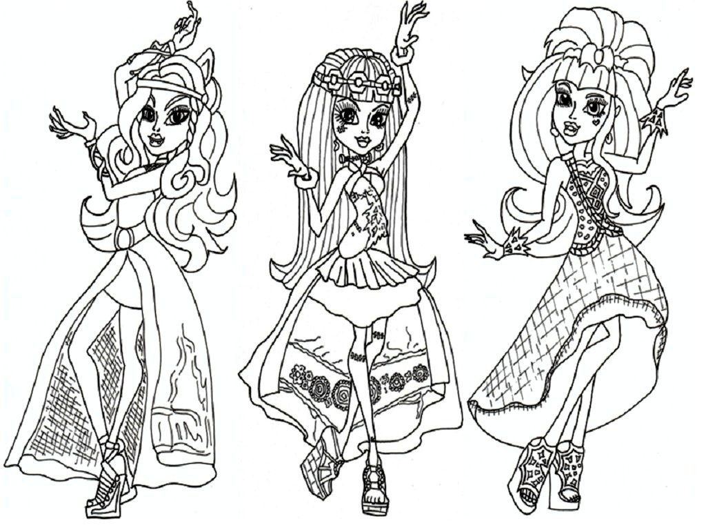 monster high dolls coloring pages colorinenet 8063