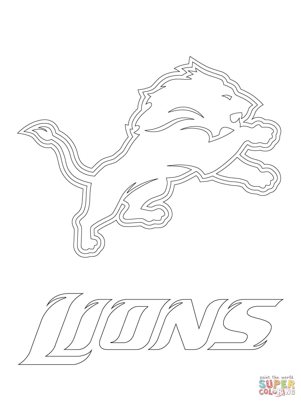 Lions coloring pictures - Detroit Lions Logo Coloring Page