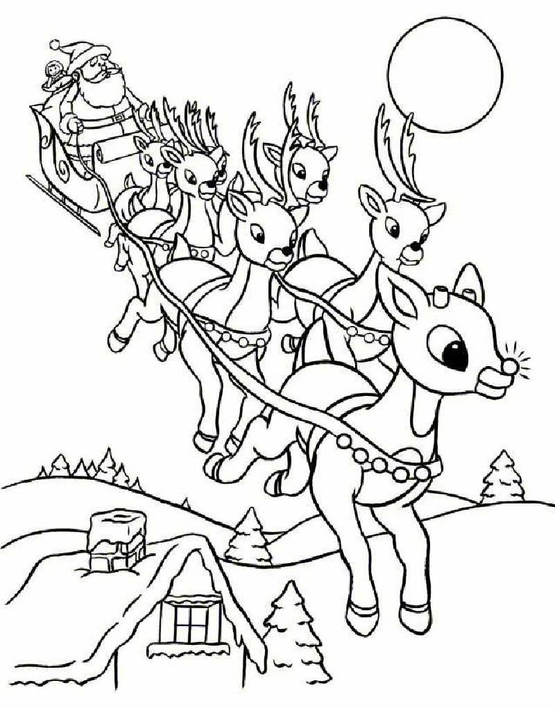 SANTA'S REINDEER coloring pages - Rudolph and Santa Sleigh