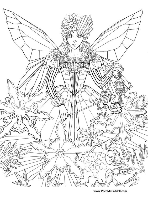 fantasy realistic fairy coloring pages - photo#35