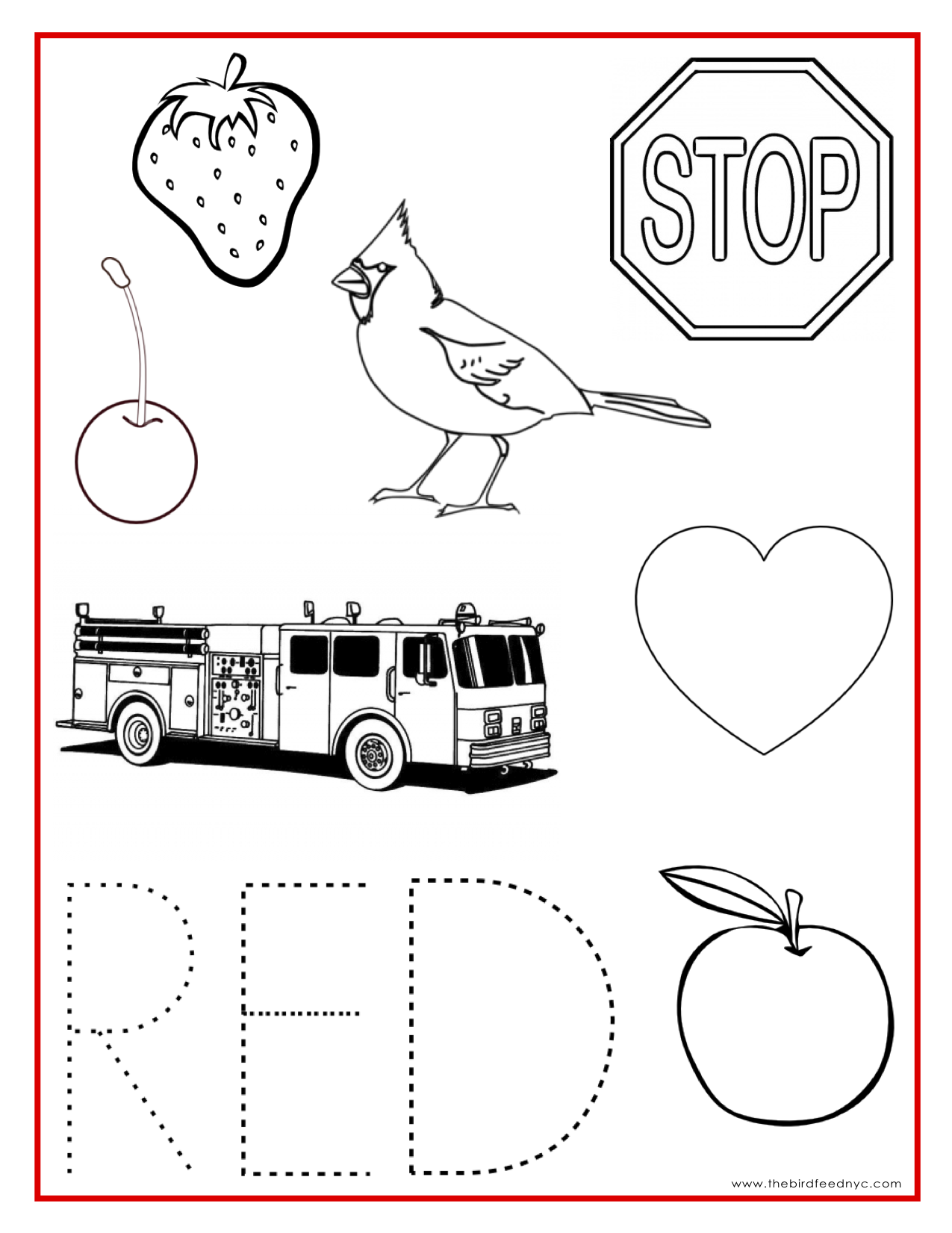 Red Coloring Pages Printable Coloring Home Colour Activities For Children