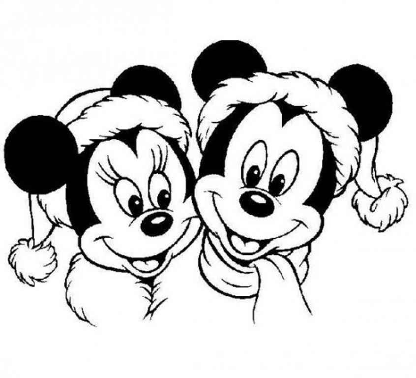 Mickey Wore Santa's Costume In Christmas Coloring Pages Printable ...