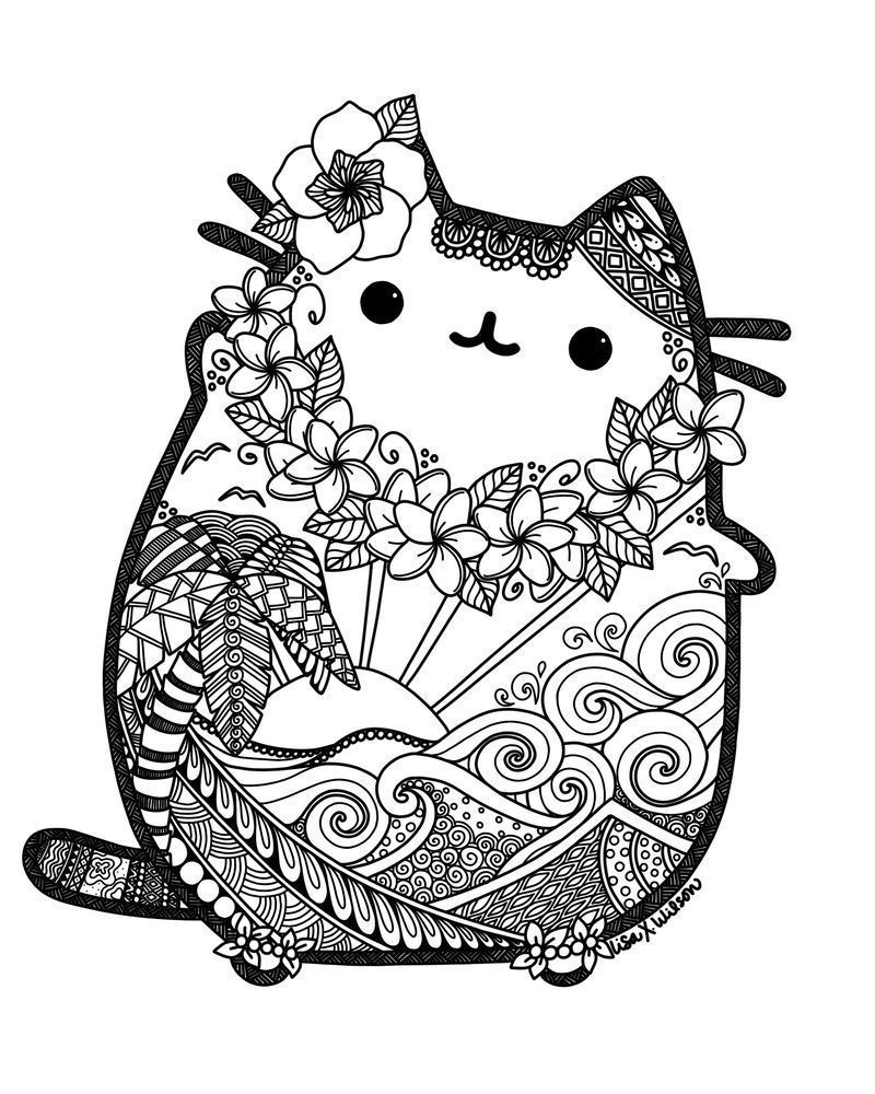 Coloring Pages : Printable Pusheen Coloring Pages Birthday ...