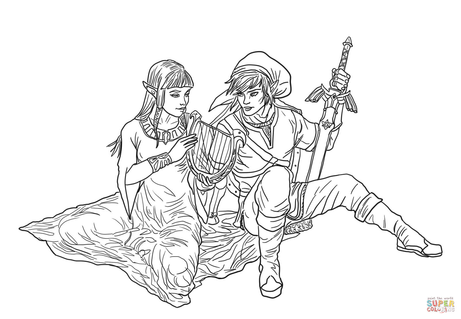 Link and Zelda coloring page | Free Printable Coloring Pages