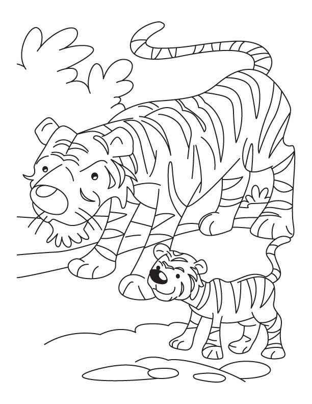 Coloring pages of a tiger coloring home for Coloring pages tiger cubs