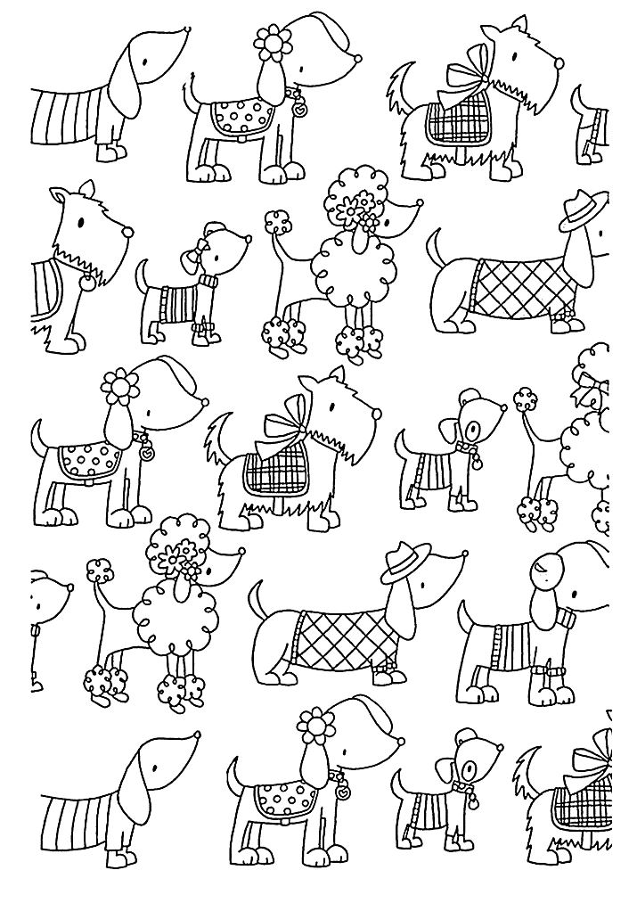 Animal - Coloring Pages for adults : coloring-adult-difficult-dogs ...