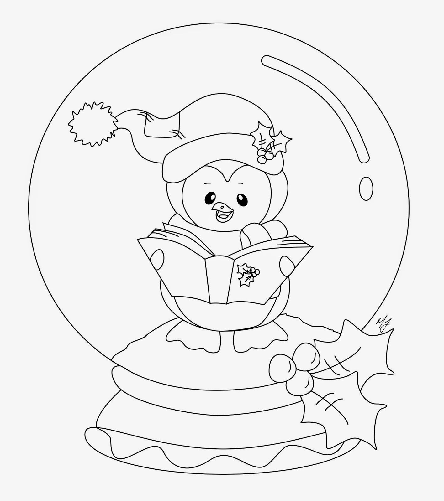 snowglobe+penguin+2+bw.jpg (JPEG Image, 1416 × 1600 pixels) - Scaled (36%)  | Penguin coloring pages, Coloring pages, Christmas coloring pages