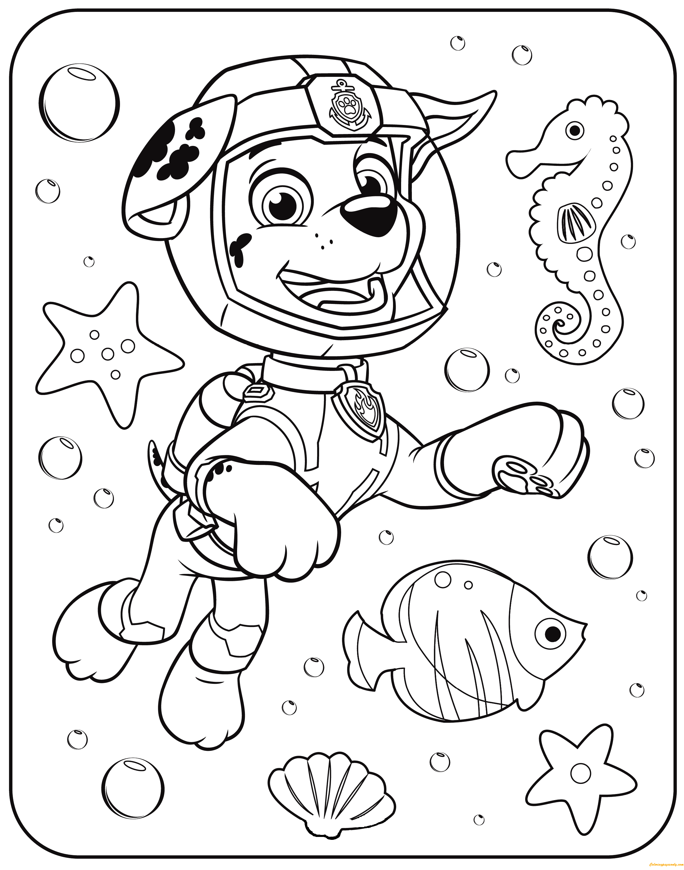 Paw Patrol Marshall Underwater Coloring Page Free Coloring Pages Coloring Home