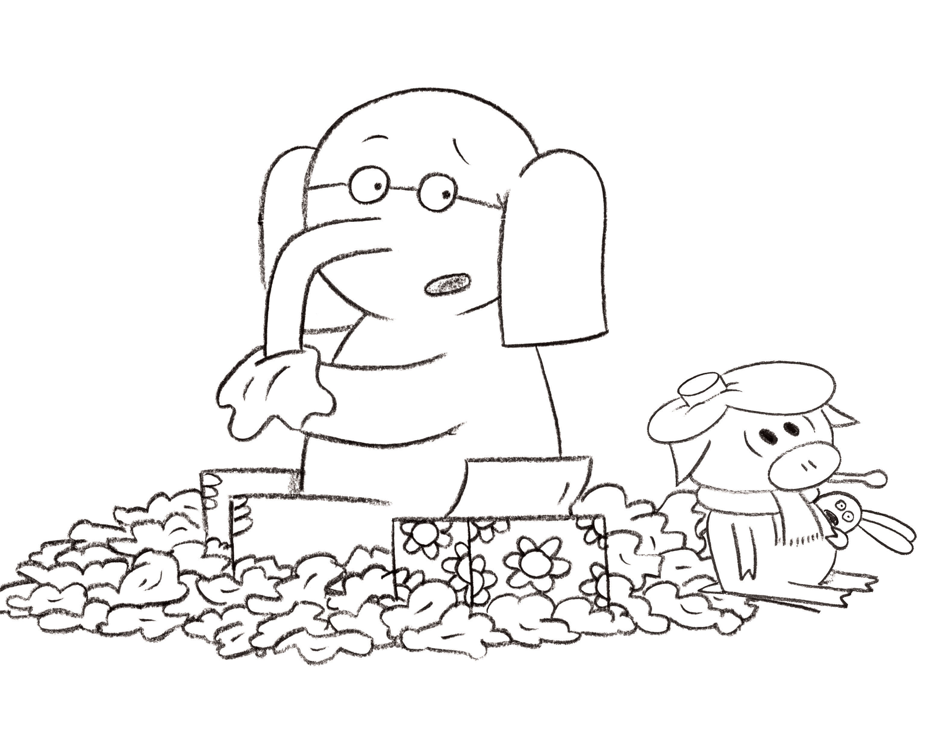 elephant and piggie coloring page coloring home