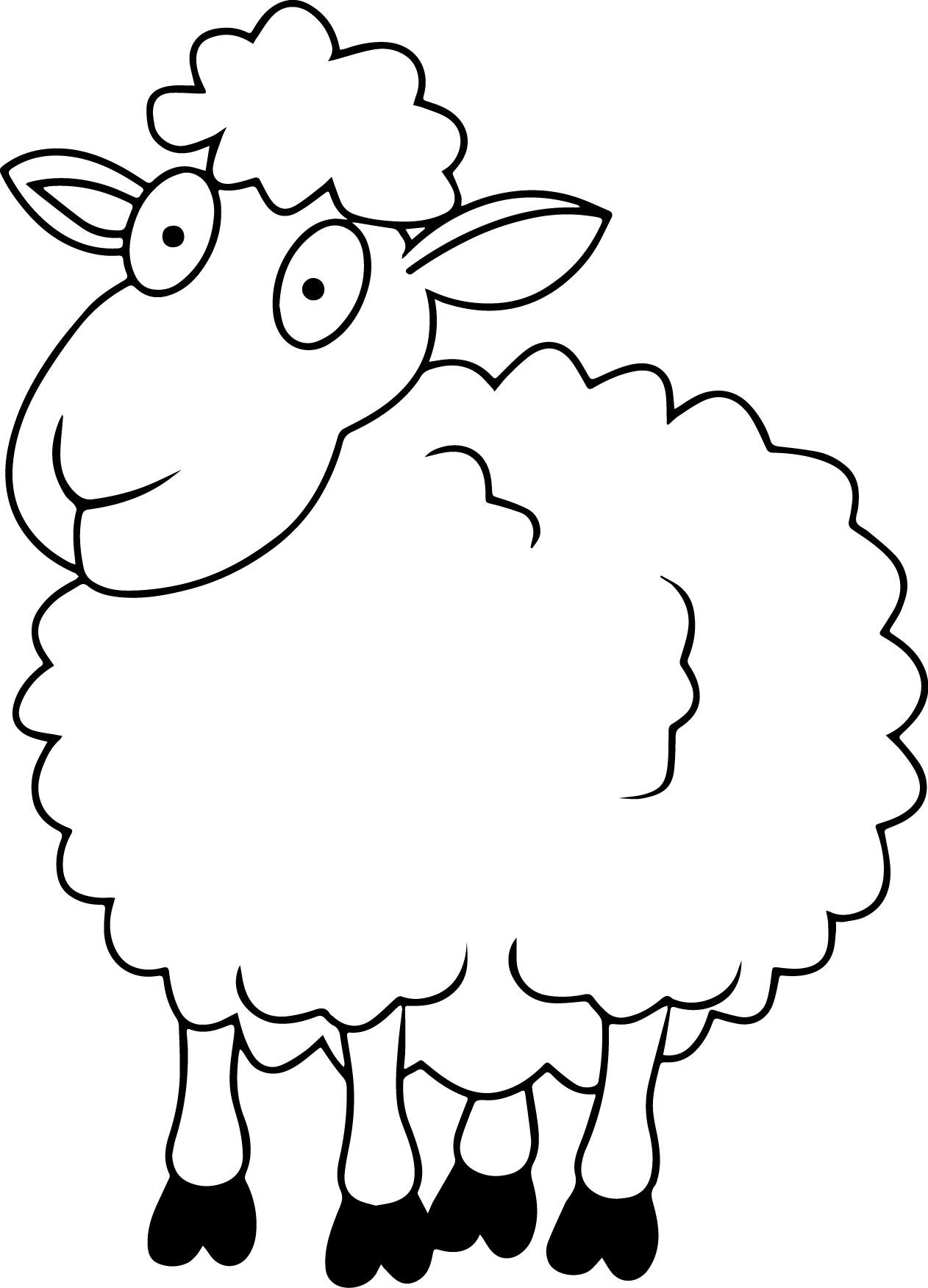 Sheep outline coloring page coloring home for Sheep coloring page