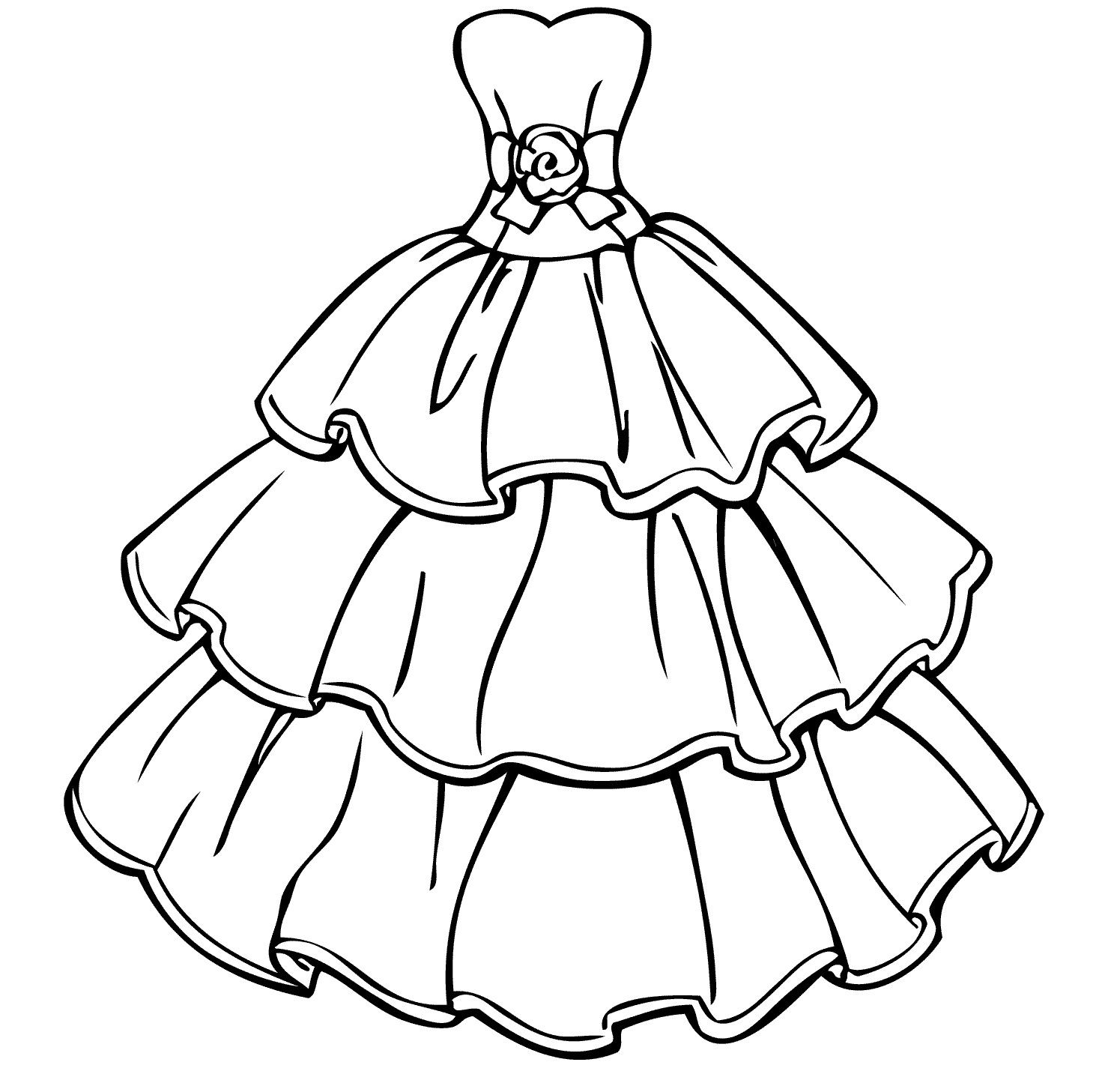 princess gown coloring pages - photo#1