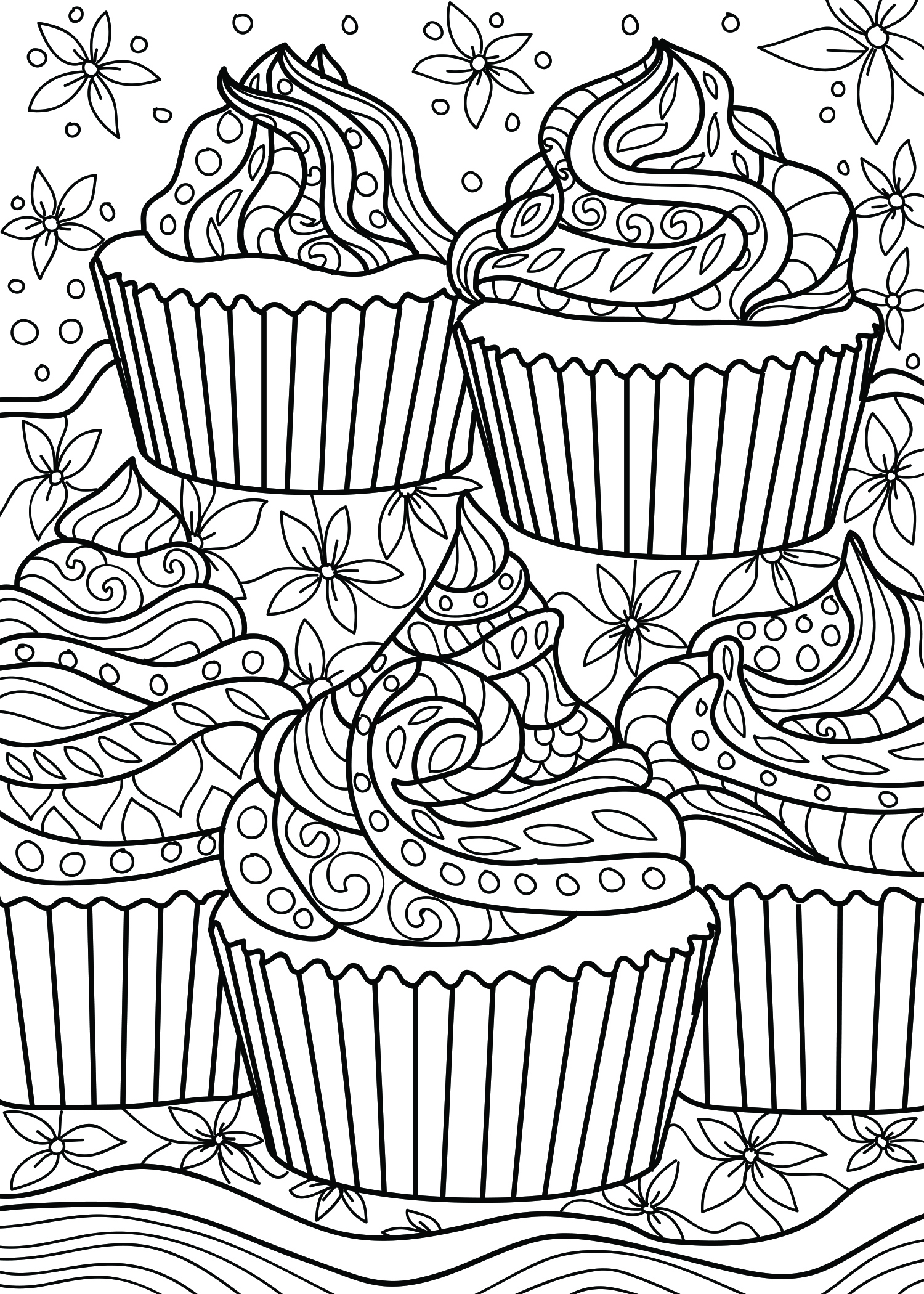 Cupcake Coloring Page - Coloring Home