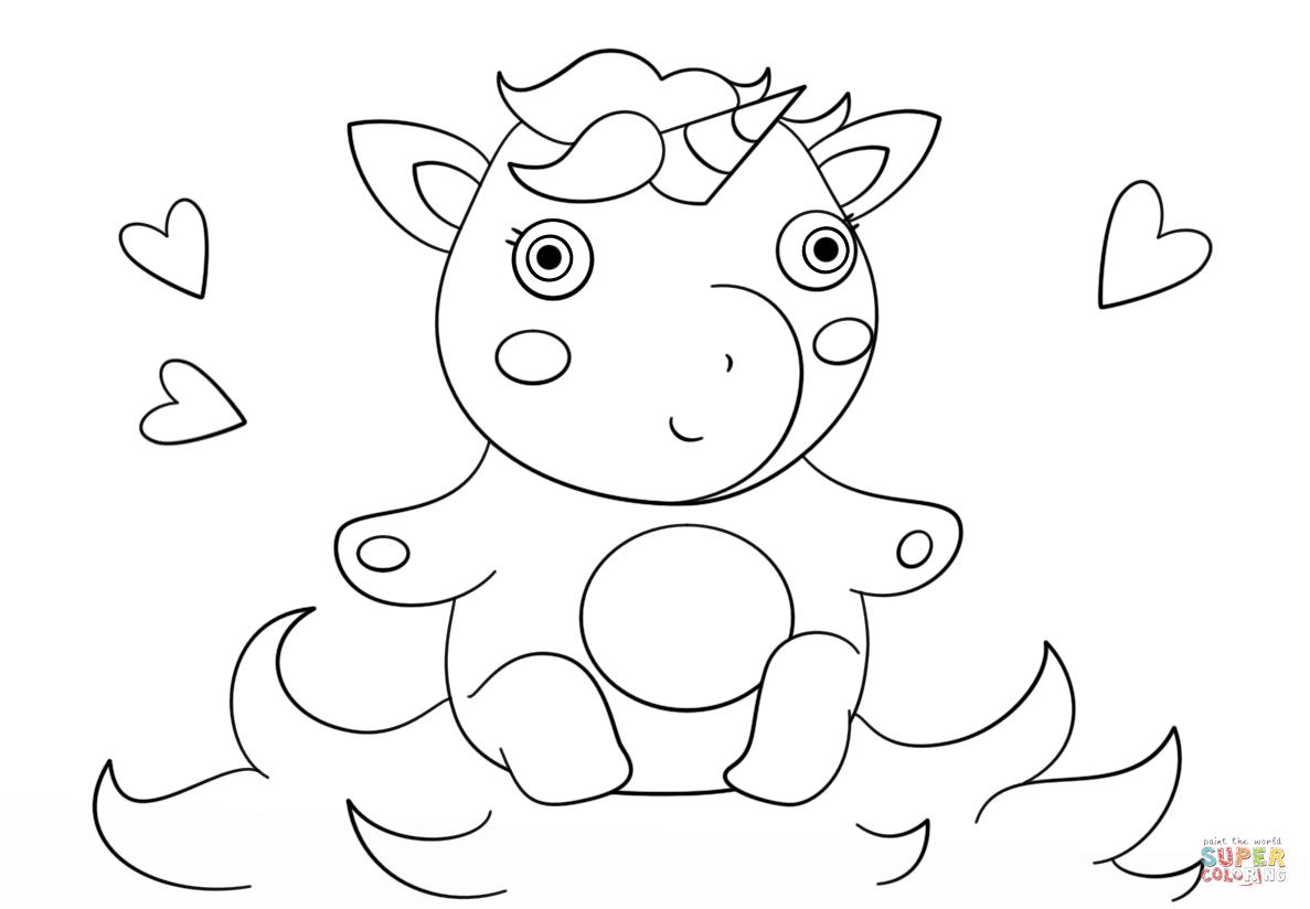 schattige baby eenhoorn kleurplaat gratis kleurplaten