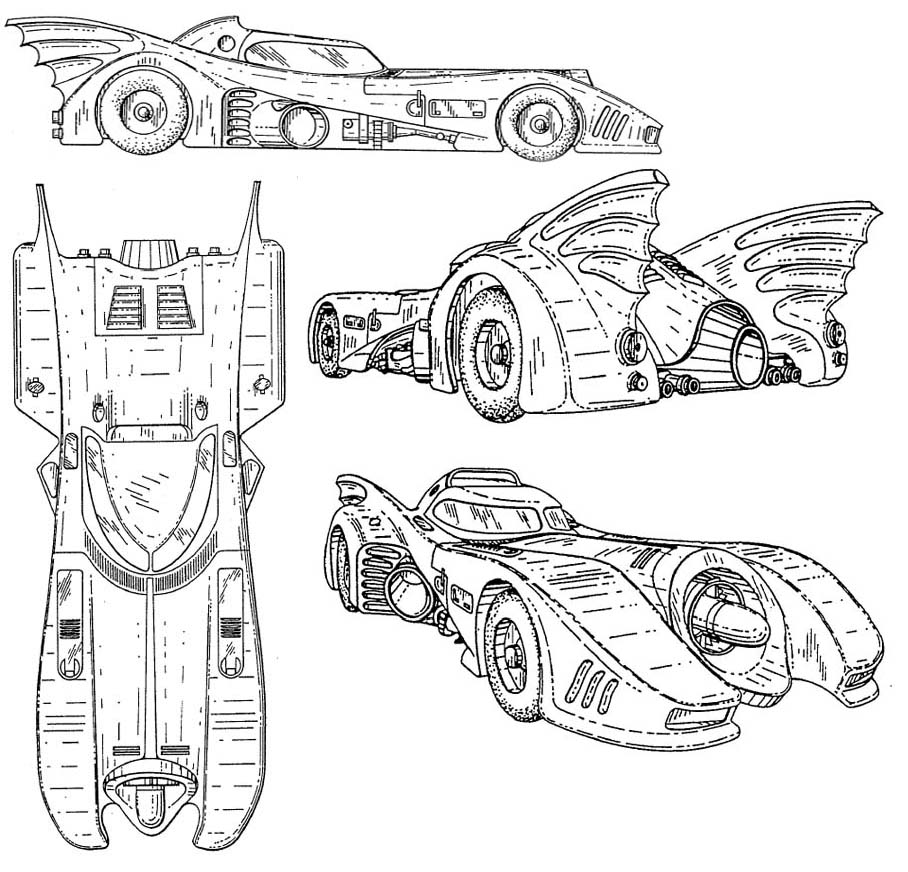 Batmobile Coloring Page Coloring Home