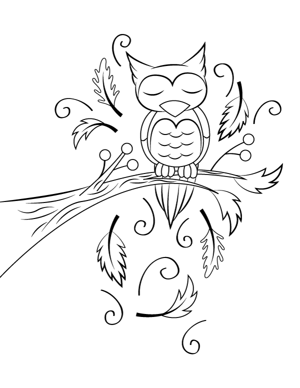 Owl sleep on bed coloring pages Sleep owl | Glennie.baebaebox.com