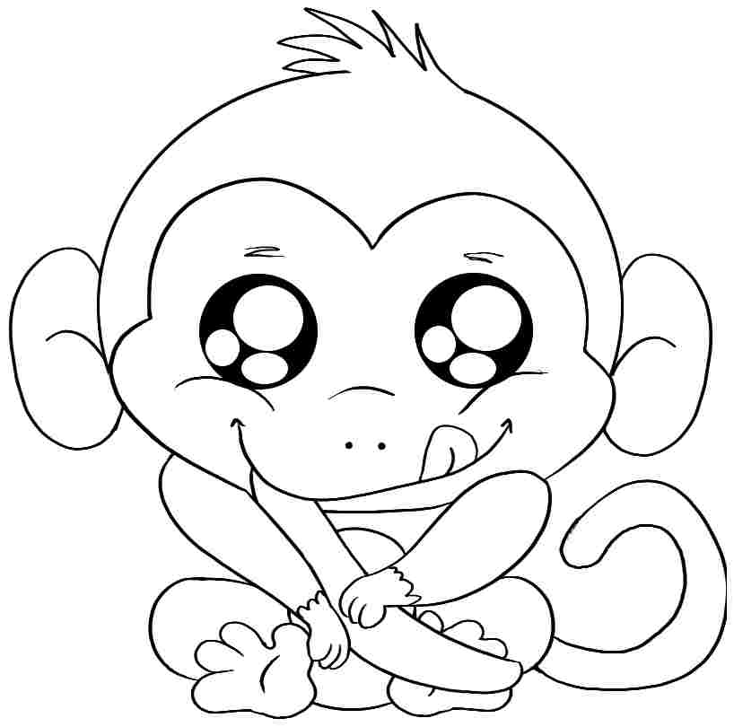 7 Pics Of Animal Baby Monkey Coloring Page
