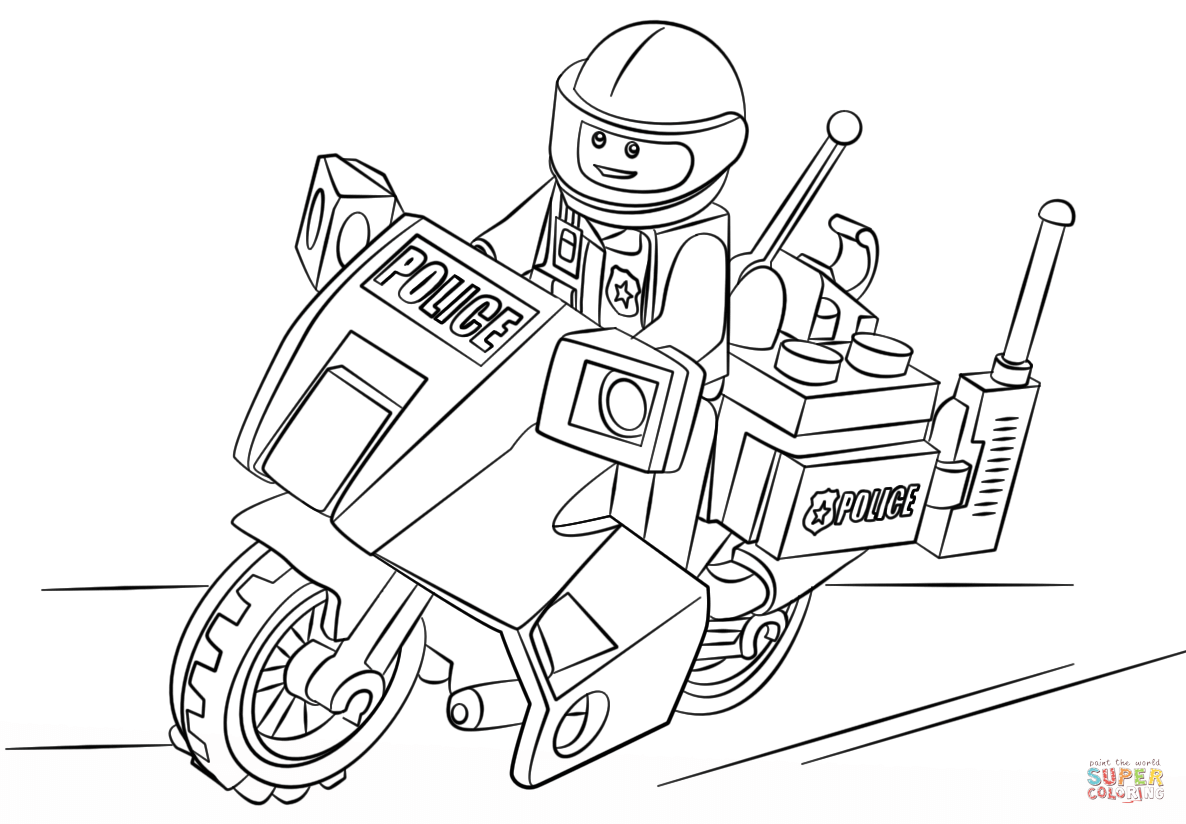 Lego Moto Police Coloring Page