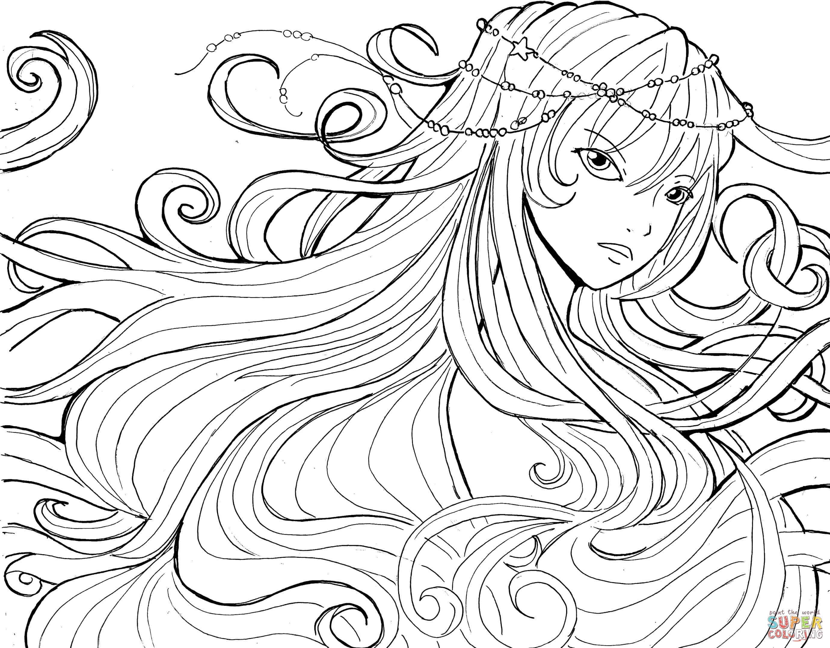 Fantasy Anime Coloring Pages - Coloring Home