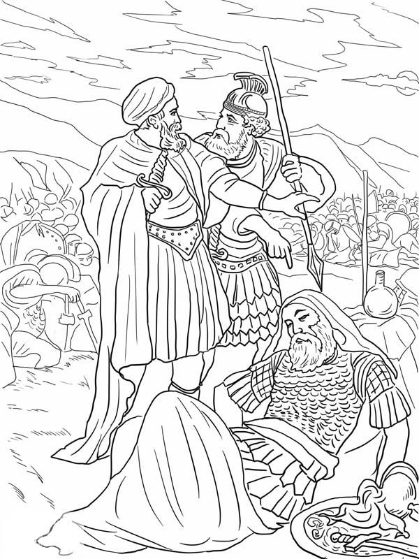 david and king saul in the cave coloring page - david spares sauls life coloring page coloring pages