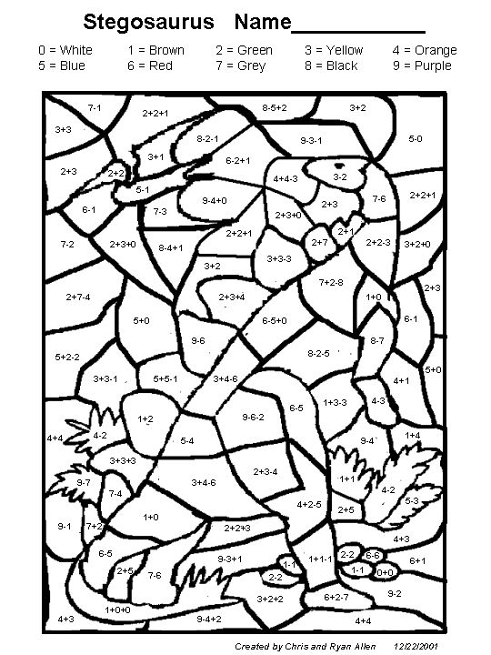 Colour By Number Dinosaur : Dinosaur color by number addition coloring page