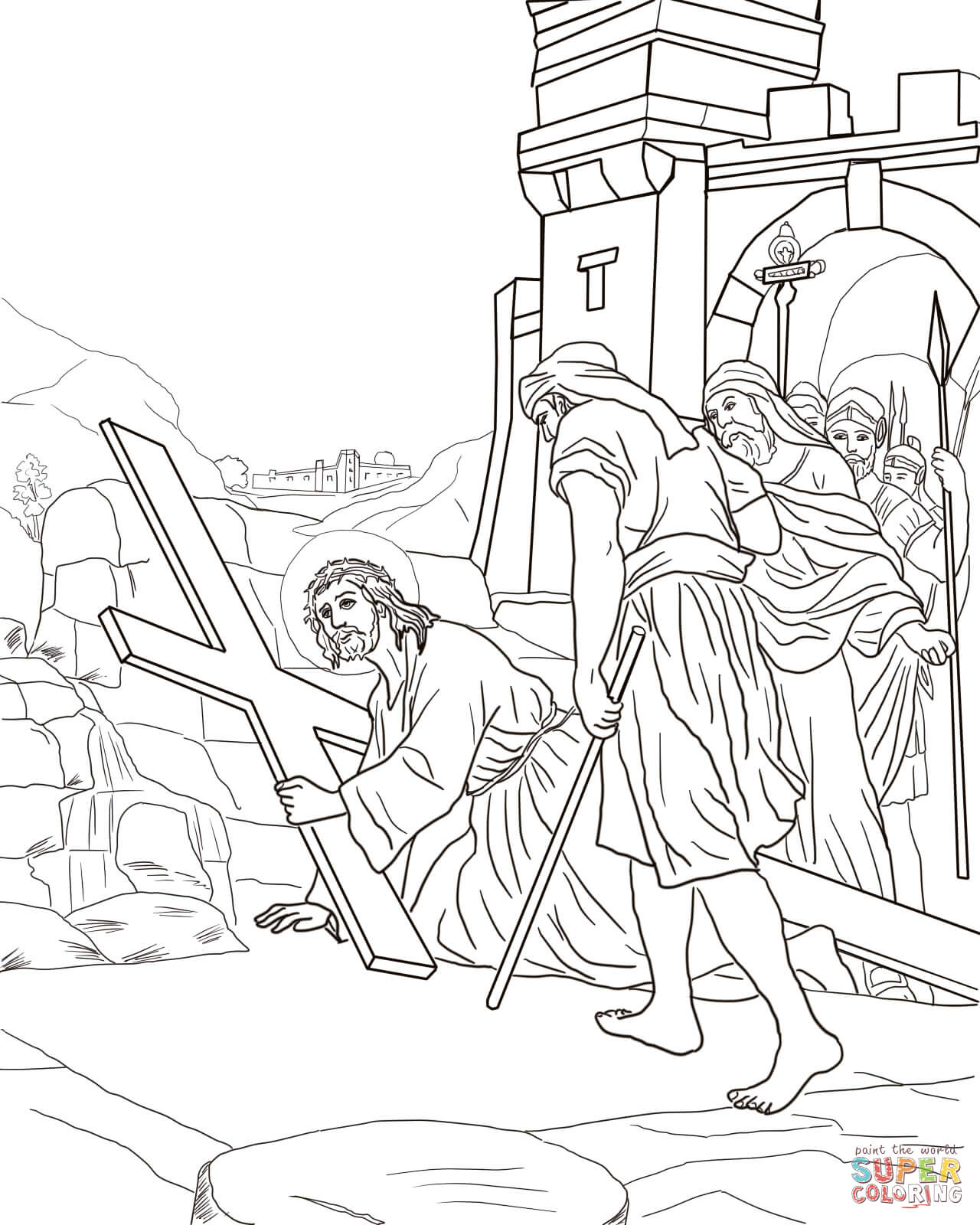 Stations Of The Cross Coloring Page - Coloring Home