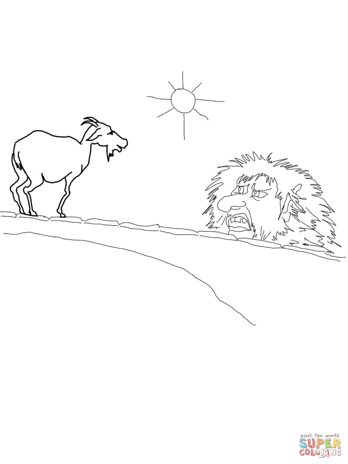Three Billy Goats Gruff Troll Coloring Pages Coloring Home