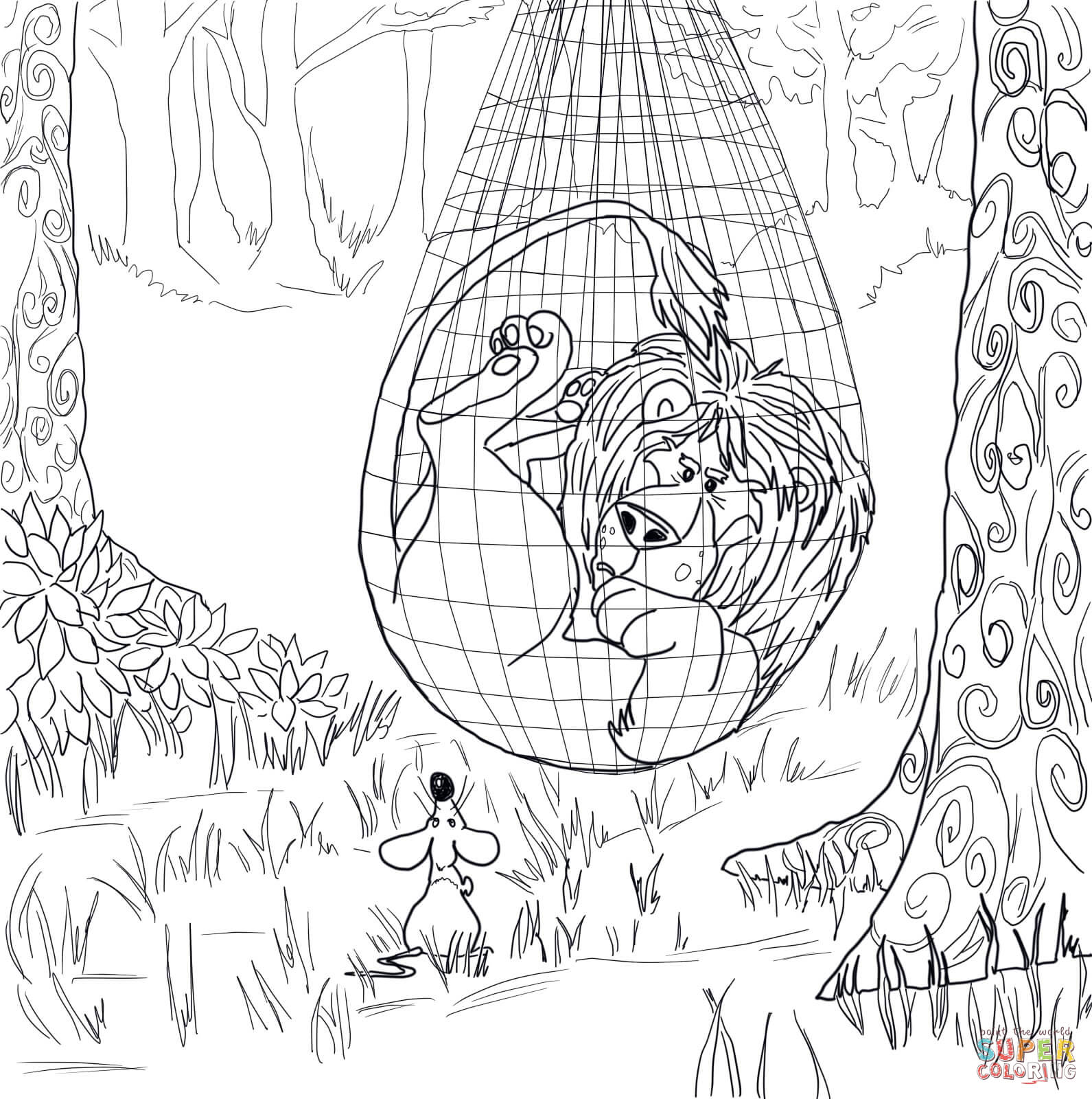 The Lion Trapped In The Net Coloring Page | Free Printable