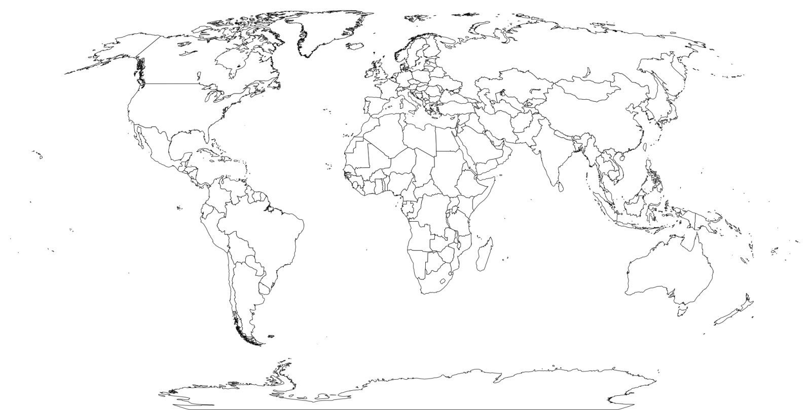 World Map Coloring Page - Coloring Home