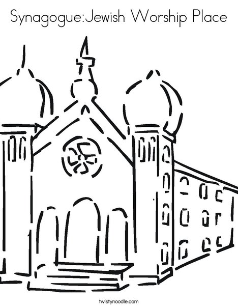 Synagogue:Jewish Worship Place Coloring Page - Twisty Noodle