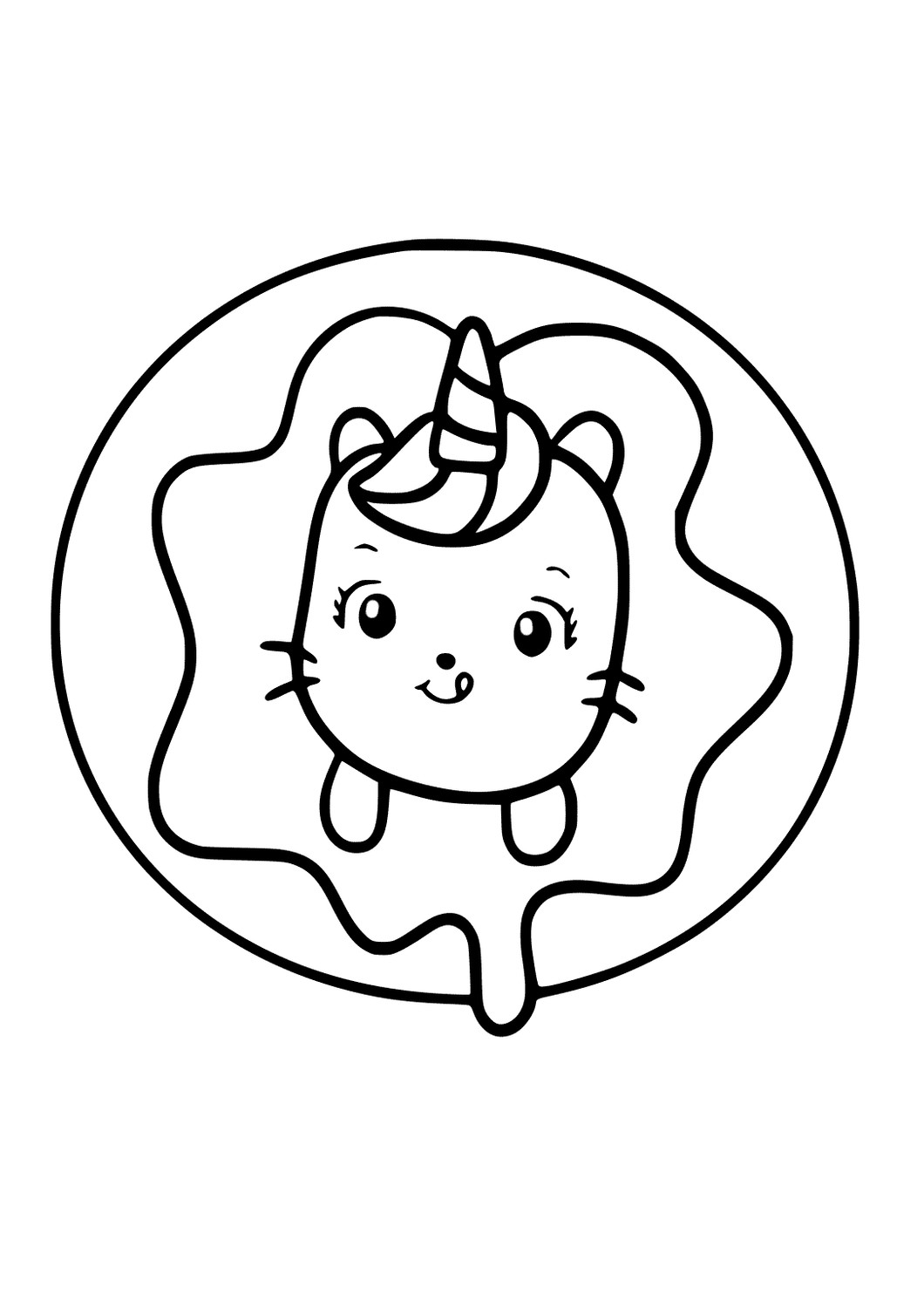 Donut Caticorn Coloring Page