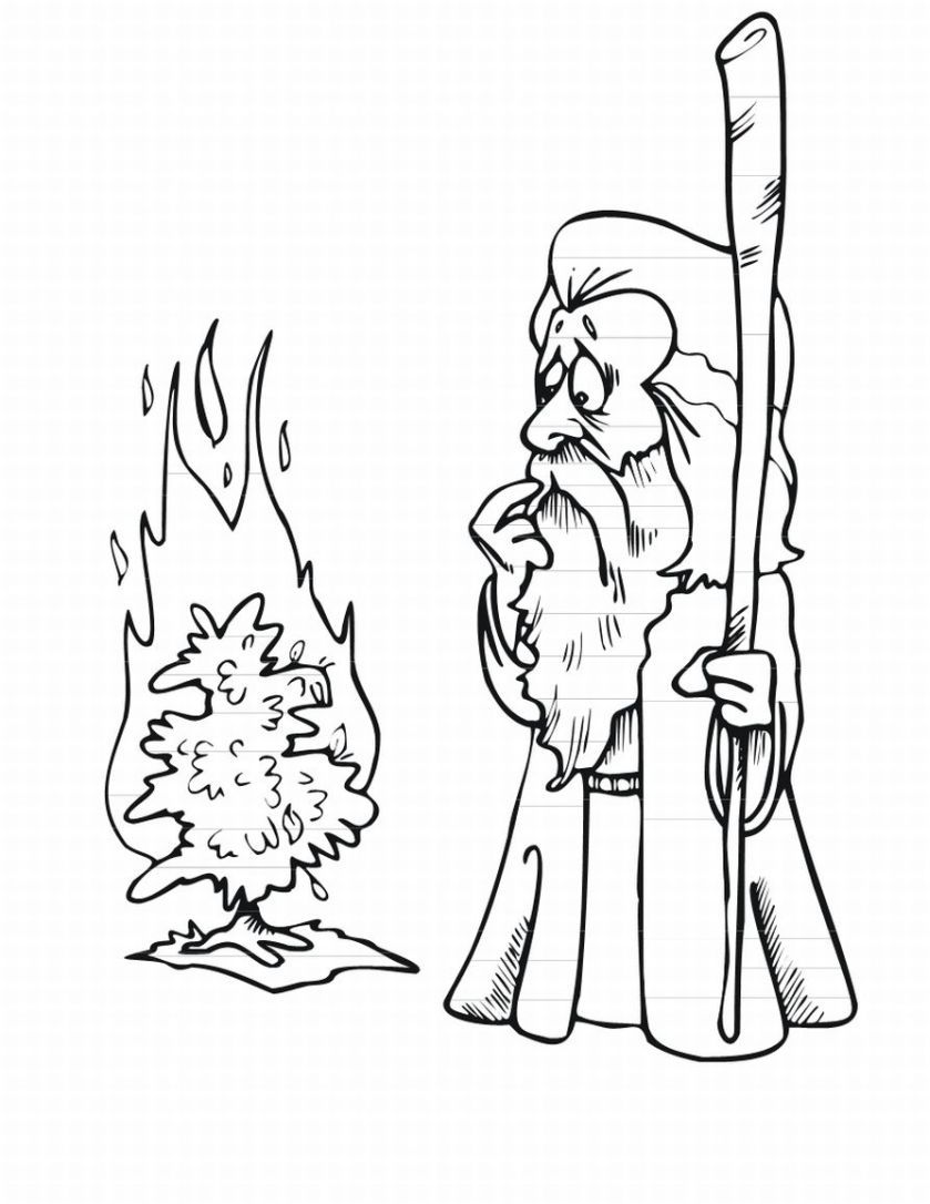 Coloring Pages Moses And The Burning Bush Coloring Pages moses and burning bush coloring page az pages the exodus bush
