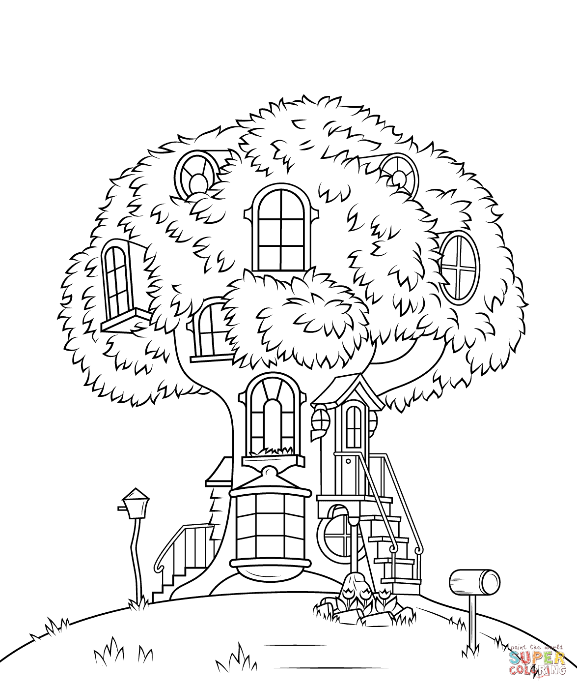Free Tree House Coloring Pages - Coloring Home
