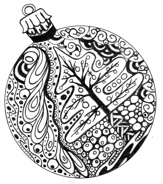 Detailed Christmas Ornament - Adult Coloring Pages Christmas