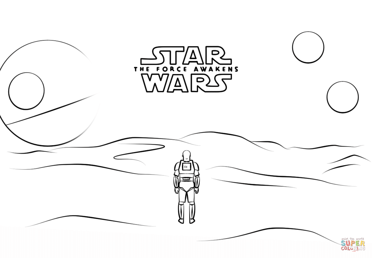 Star Wars 7 Poster with Stormtrooper Finn coloring page | Free ...