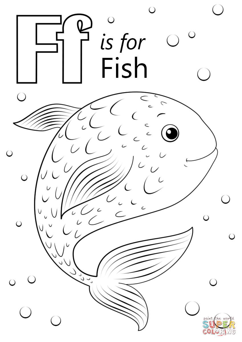 F is for coloring page coloring home for Fish coloring pages for preschool