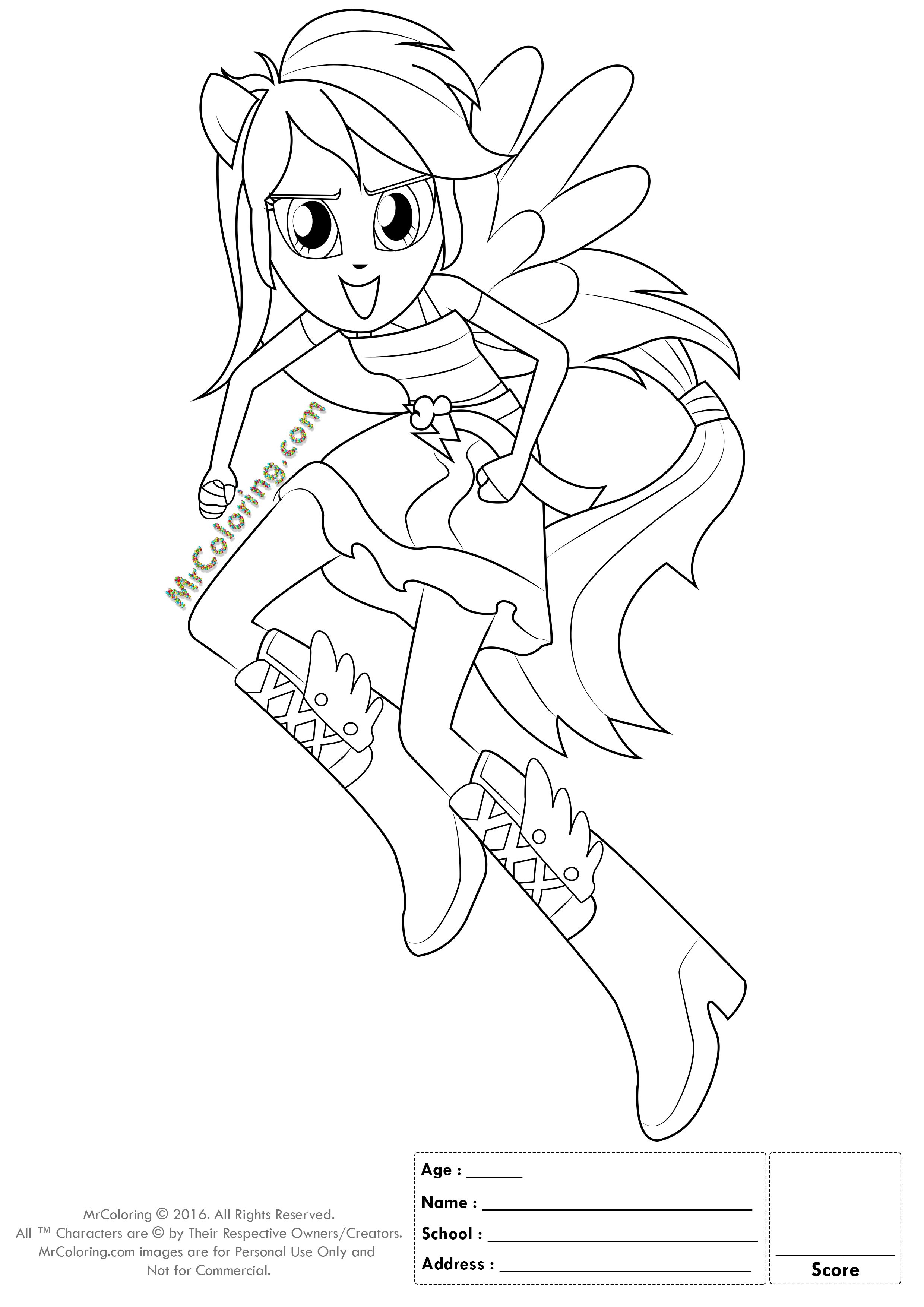 MLP Rainbow Dash Equestria Girls Coloring Pages - 2 | MrColoring.com
