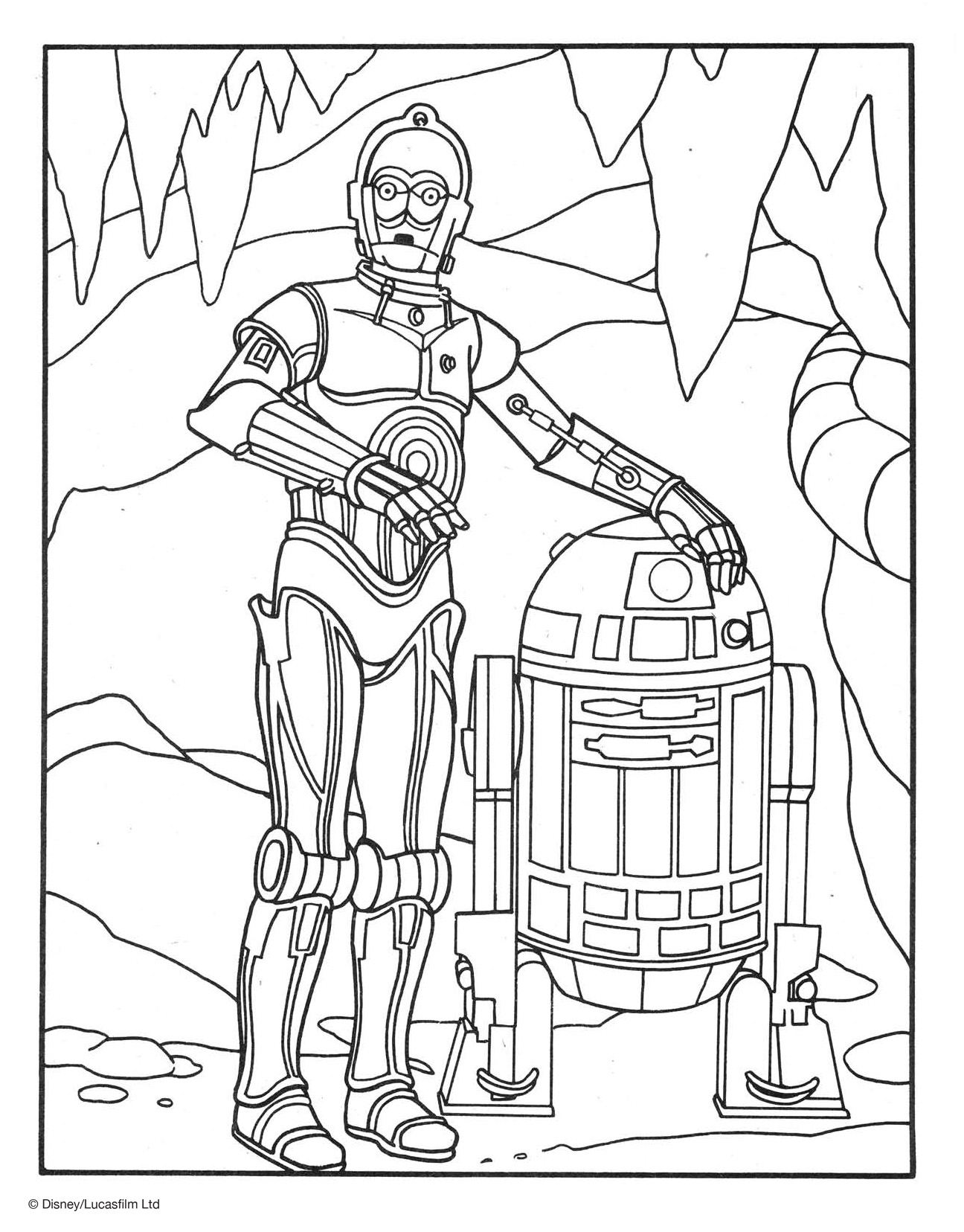 R2-D2 and C-3PO Coloring Page | Disney Family